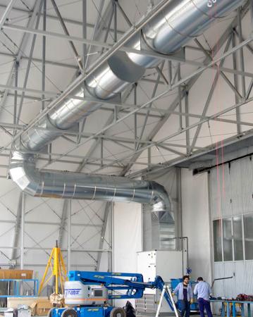 Impianto immissione/aspirazione locale sala prove aerei azienda aeronautica italiana Caselle (TO)